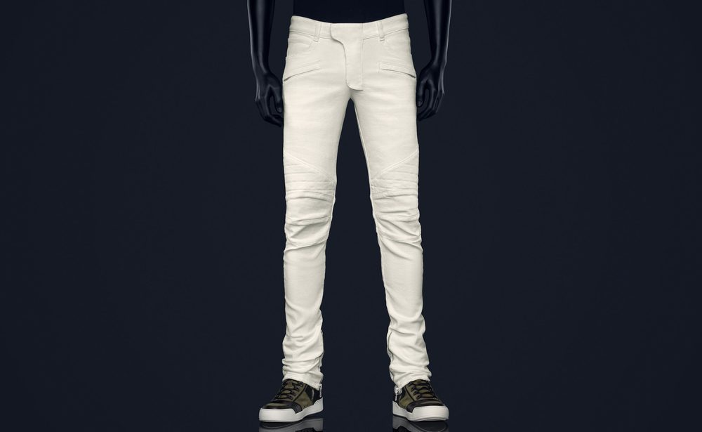 White Coated Biker Jeans - $99