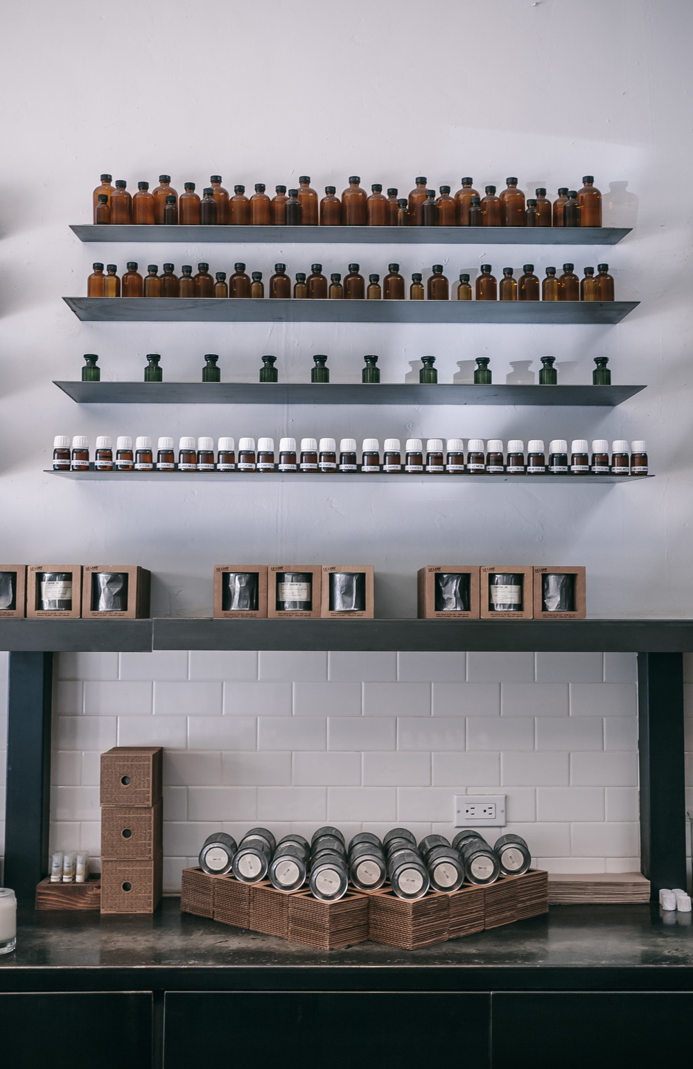 The ingredient wall at Le Labo | 3rd Street, Los Angeles