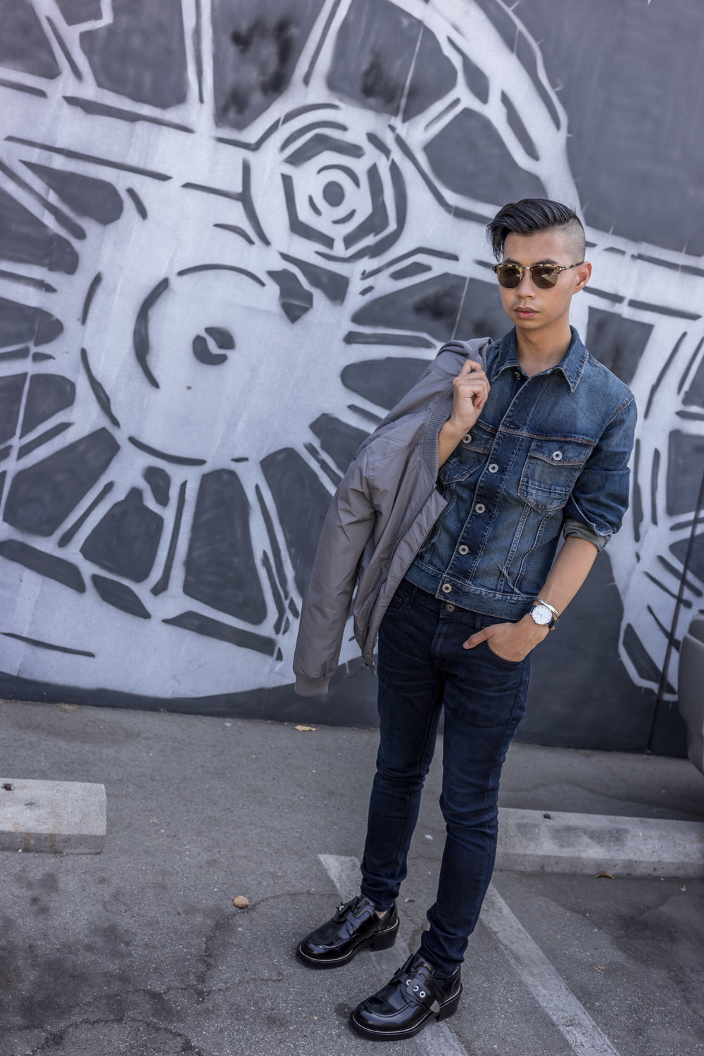 Denim on denim vibes: Express denim jacket, jeans and bomber jacket