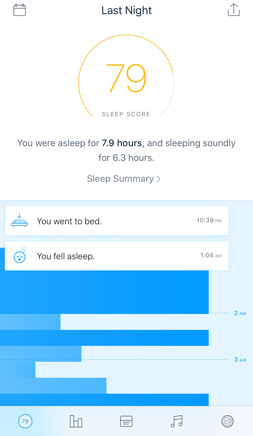 1. The native Sense app provides an overall score of how you sleep each night.