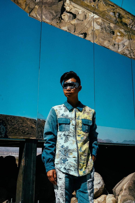 Marna Ro jacket  , KTZ x Linda Farrow helmet sunglasses