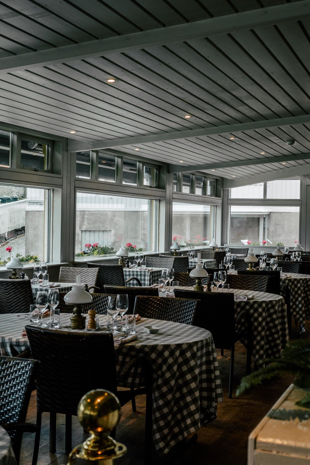 The main dining room at the Grand Tenan restaurant within Grand Marstrand Hotel