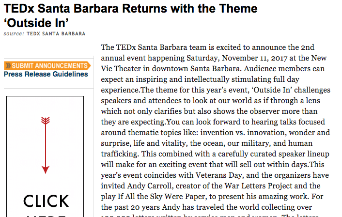 September 2017 Press Release for TEDxSantaBarbara event coming up in November.  Read More