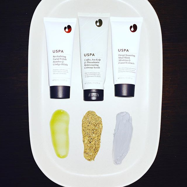 Revive your skin this weekend with one of Uspa's sensory and results driven face and body products. Pictured from right to left- Revitalising Facial Polish with Bamboo & Ginkgo Biloba, Coffee, Sea Kelp & Macadamia Rejuvenating Contour Scrub, Deep Cleansing Mud Mask Mistletoe & Fennel Extracts #uspa #skincare #facial #bodyscrub #wellness #naturalbeauty #naturalskincare