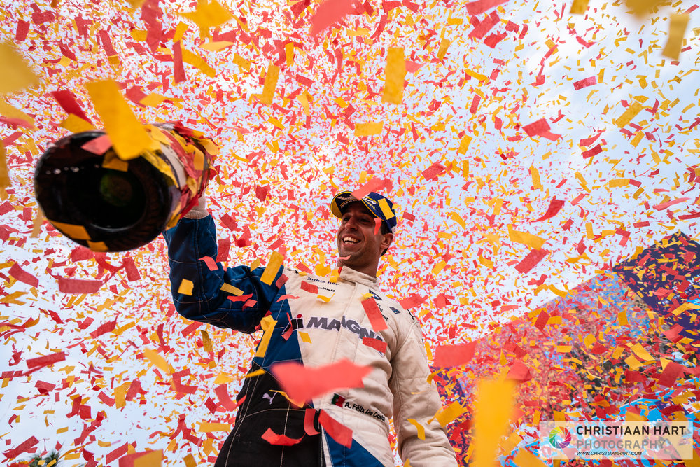 António Félix da Costa  celebrates his 3rd place position.