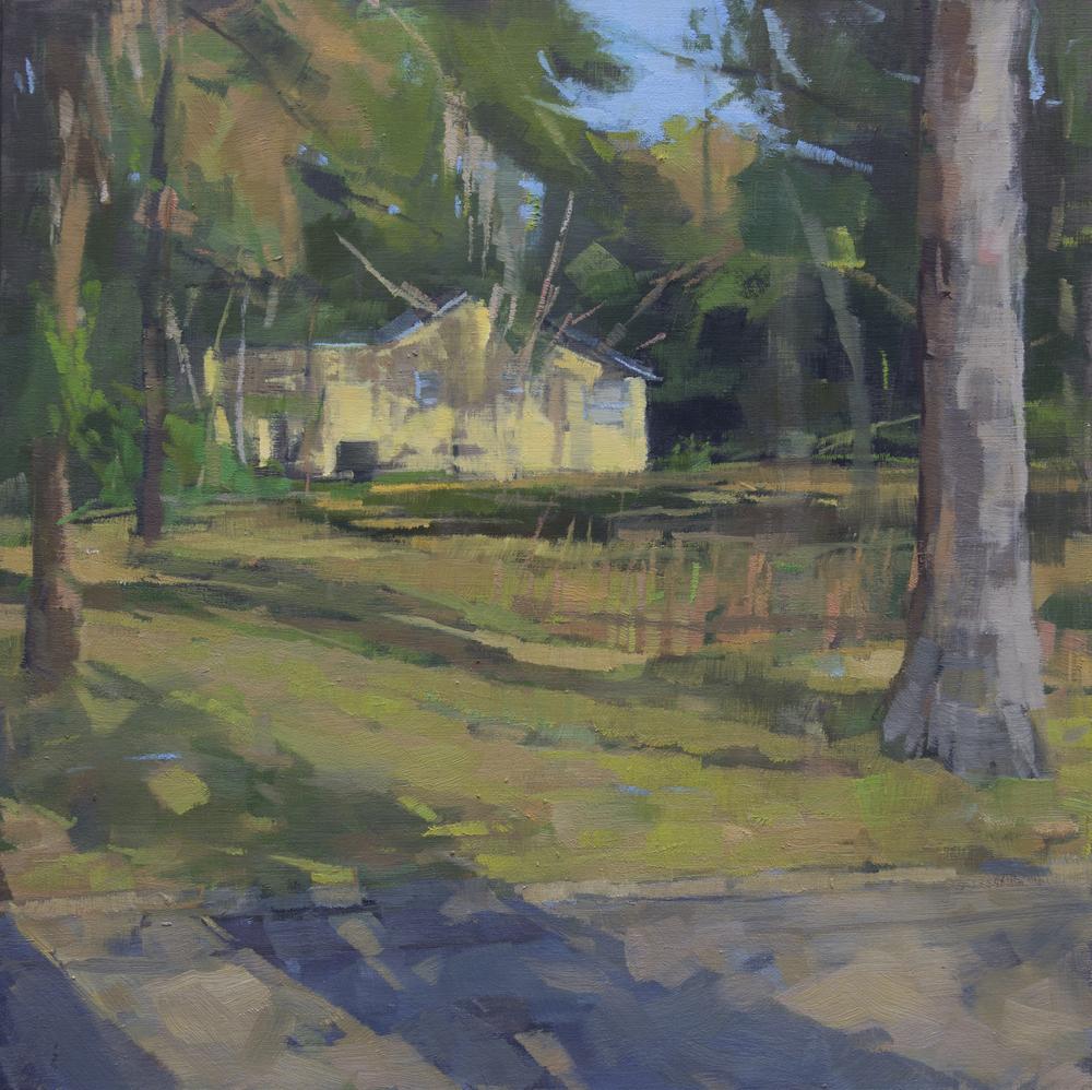 """Long Shadows Go, oil on wood panel, 10"""" x 10"""", 2015"""