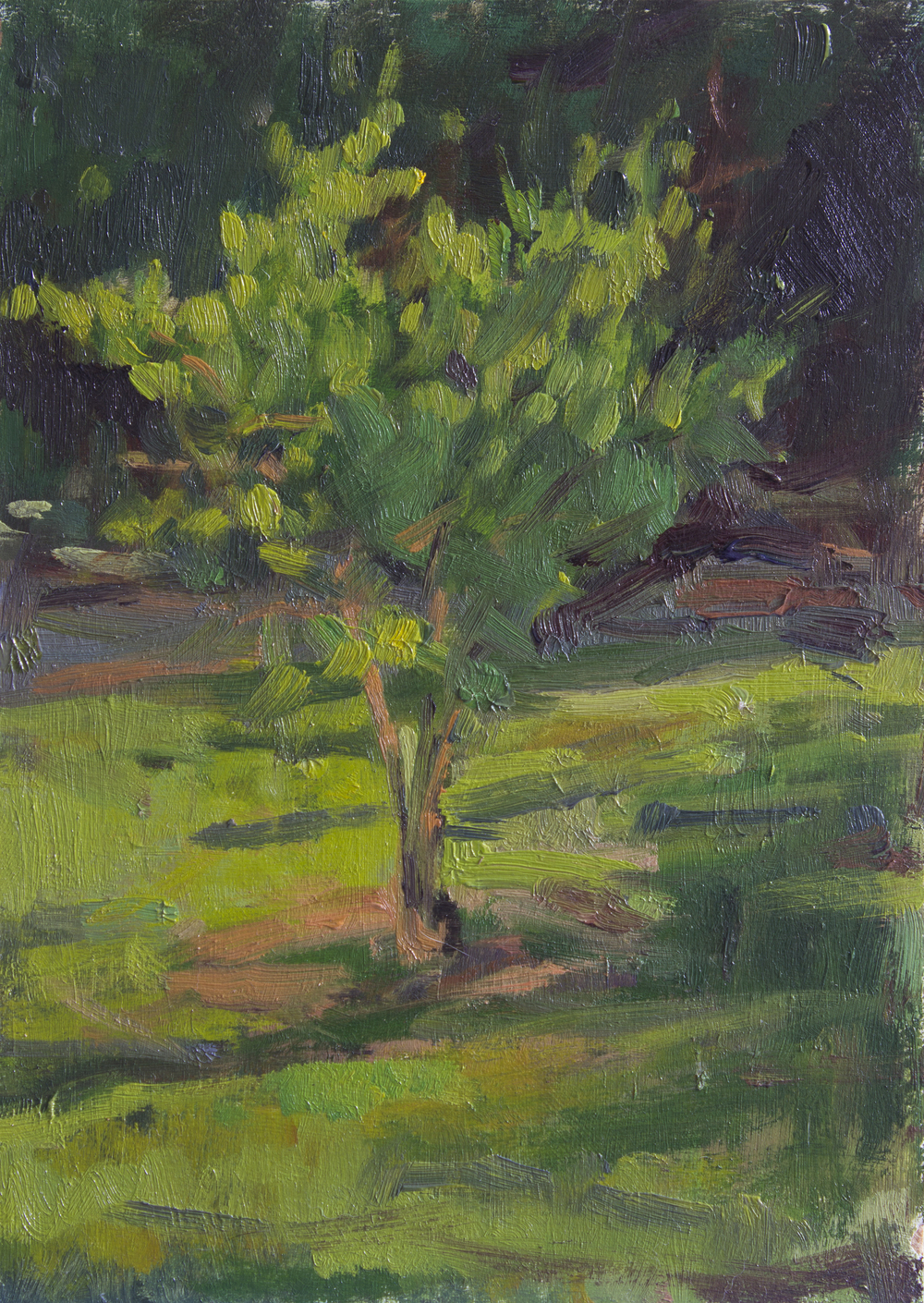 "Between Home and Nest Study, oil on panel, 7"" x 5"", 2015"
