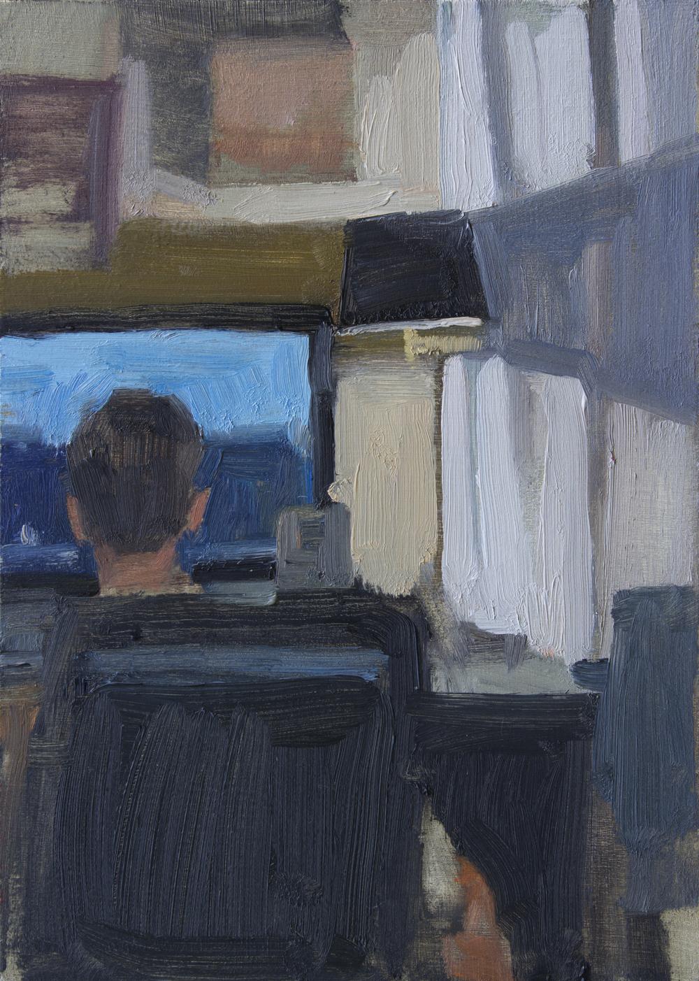 """Minor Skirmish, oil on panel, 7"""" x 5"""", 2014"""