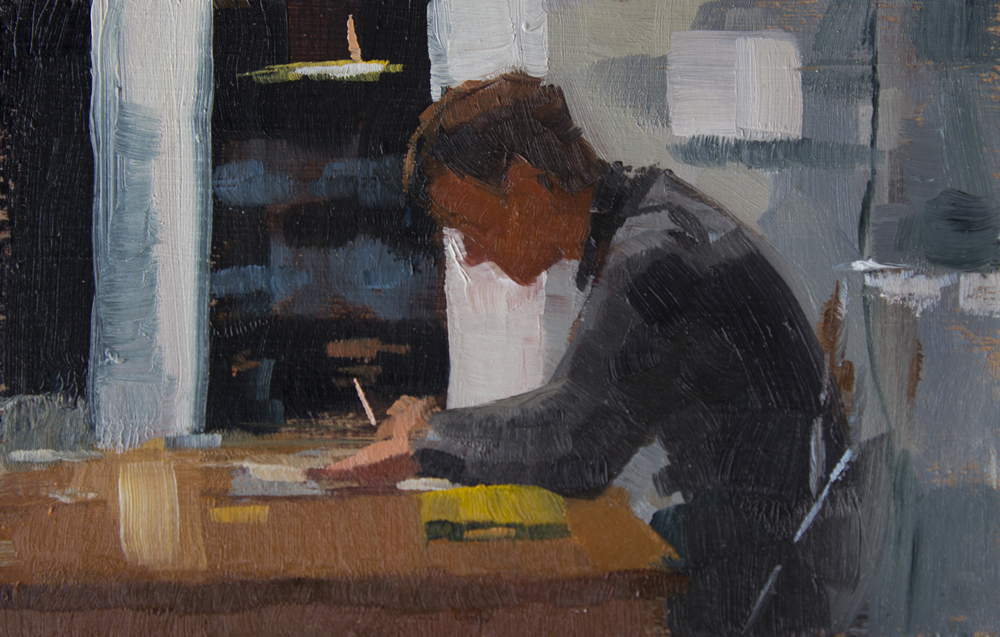 """TS 344, oil on panel, 2"""" x 3.25"""", 2014, Sold"""