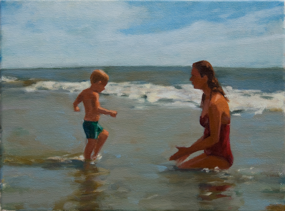 "Wading Back, oil on canvas, 9"" x 12"", 2013, Private Collection"