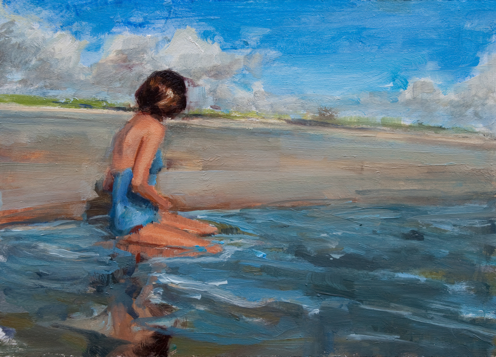 "Tidal Girl no.3, oil on panel, 5"" x 7"", 2013, Private Collection"