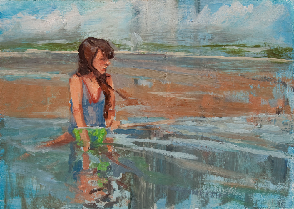 "Tidal Girl no.1, oil on panel, 5"" x 7"", 2013"