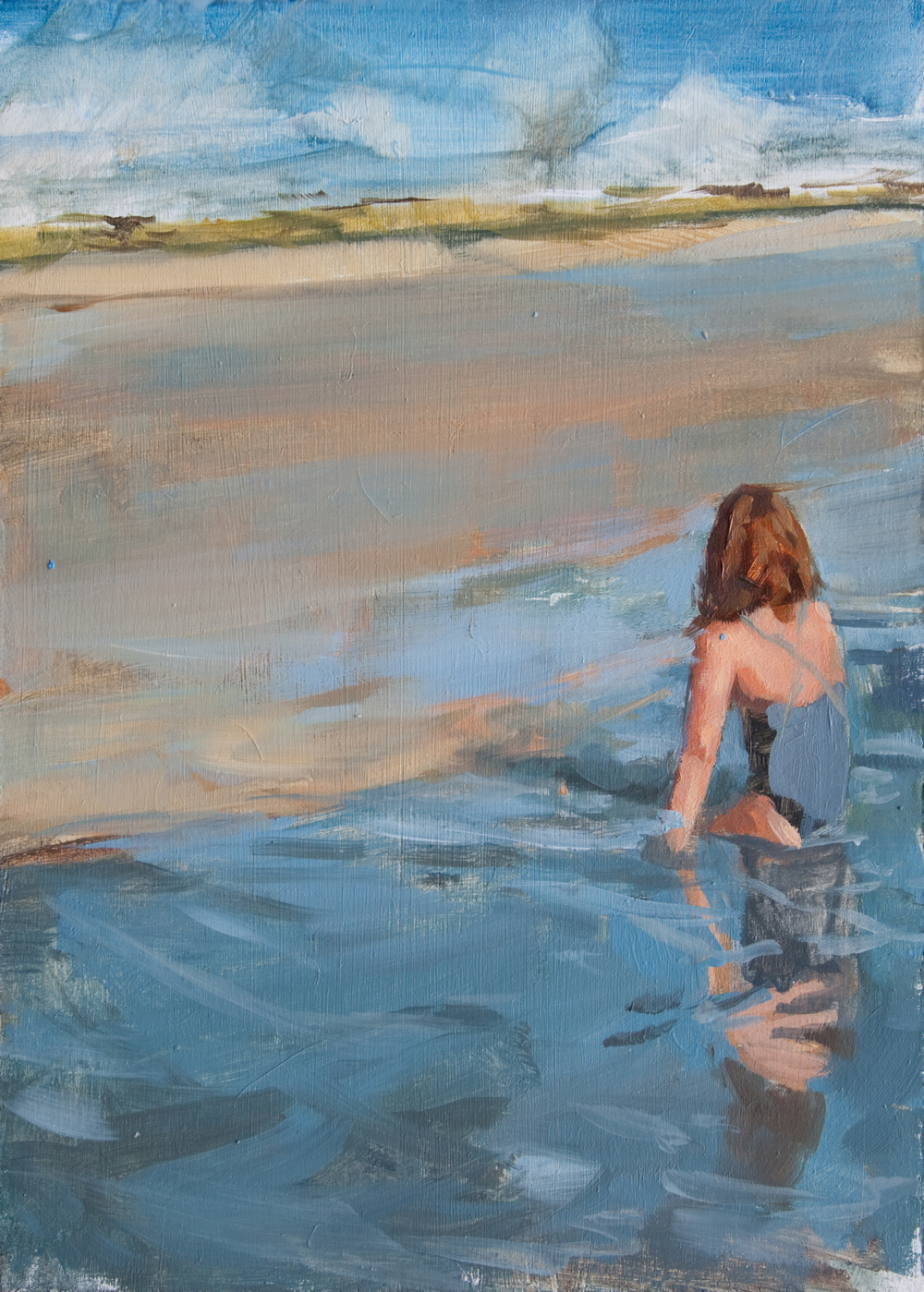 "Tidal Girl no.2, oil on panel, 7"" x 5"", 2013, Private Collection"