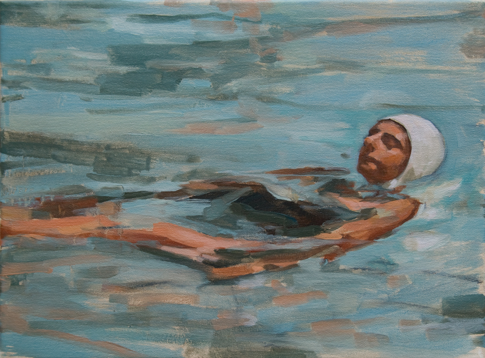 "Swimmer, oil on canvas, 12"" x 16"", 2013"