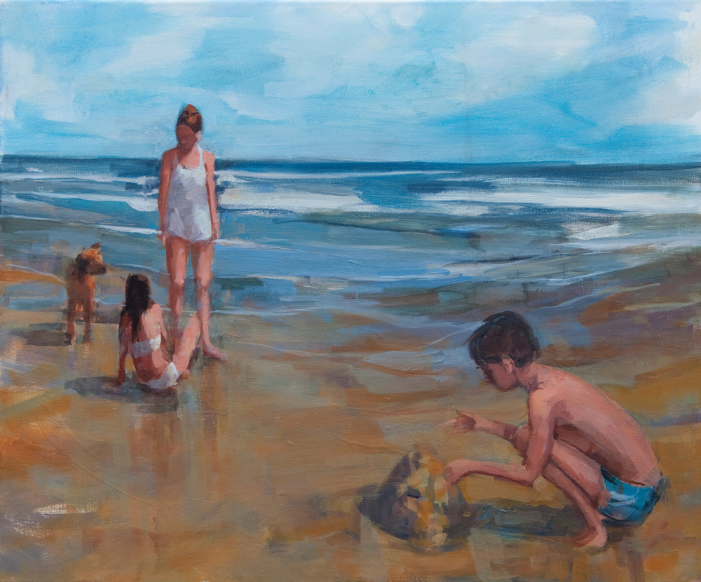 "Beach with Matt, oil on canvas, 20"" x 24"", 2012, Private Collection"