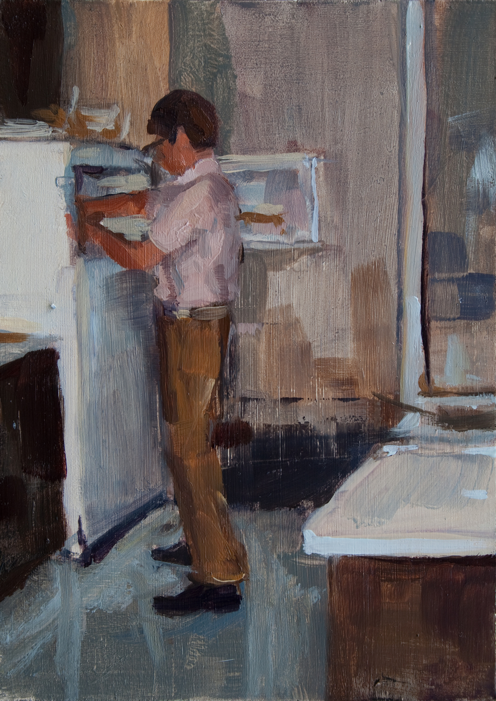 "Dad with Fridge, oil on panel, 7"" x 5"", 2012"