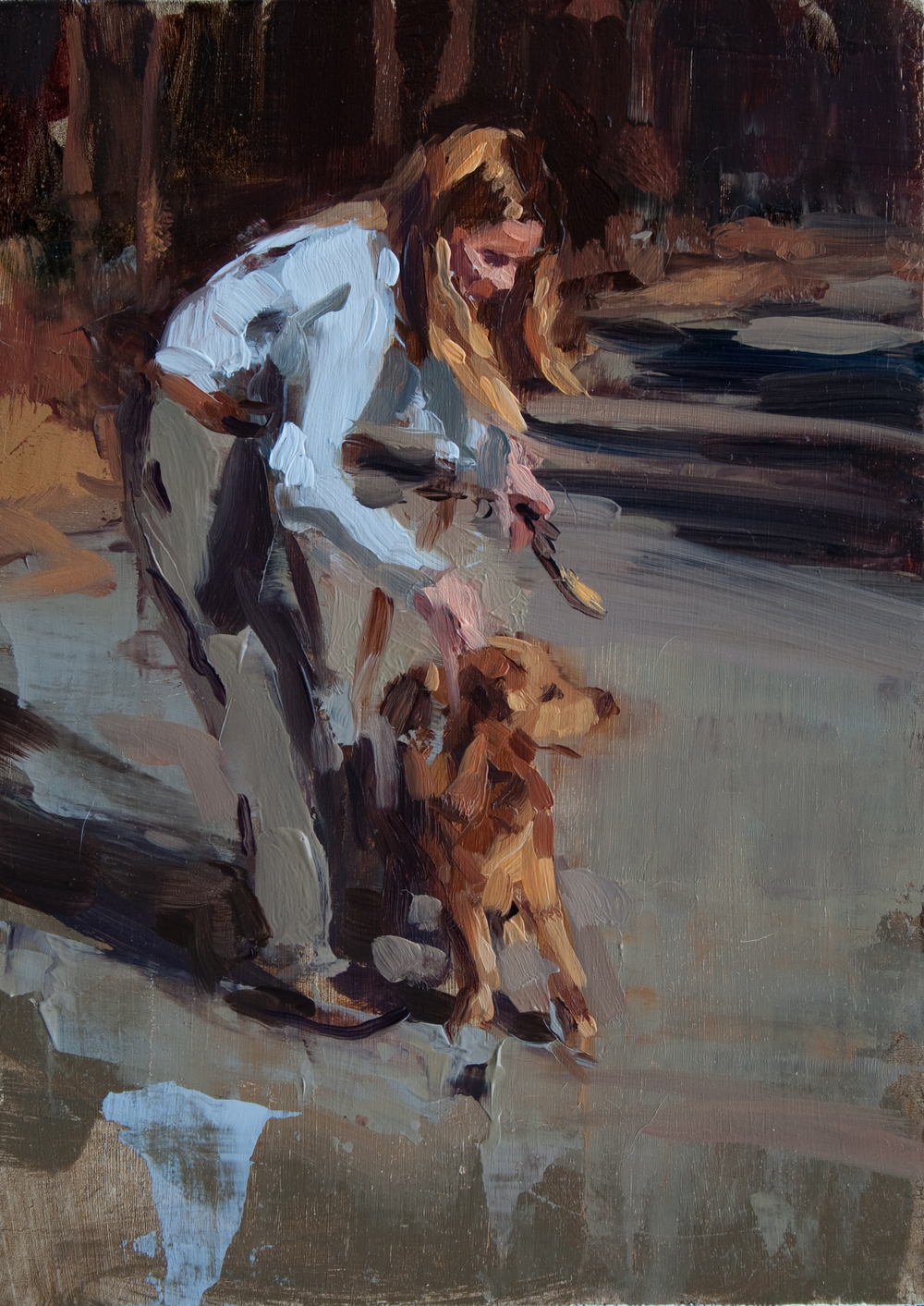 "Mom with Dog oil on panel, 7"" x 5"", 2012, Private Collection"