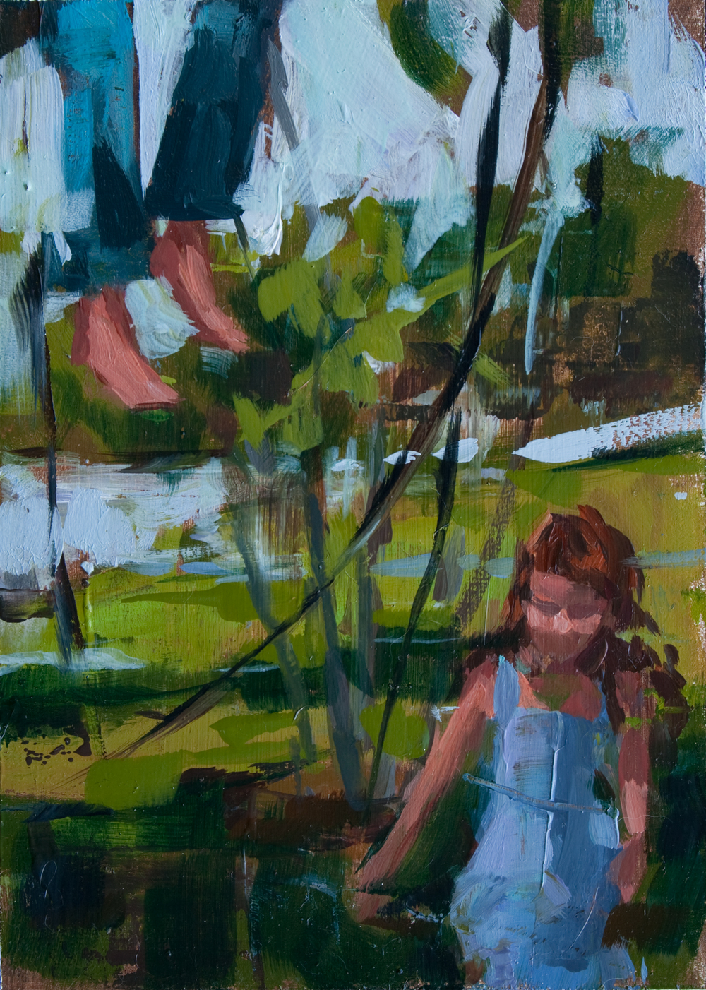 "Floating Feet, oil on panel, 7"" x 5"", 2012, Private Collection"