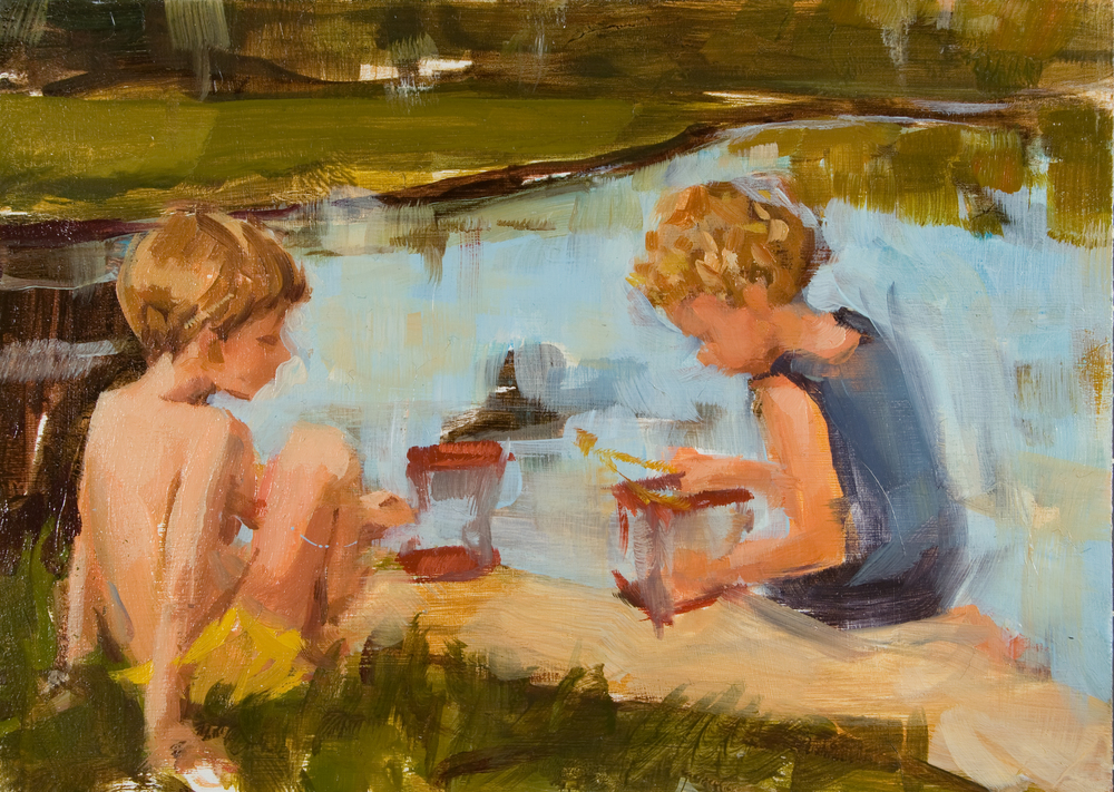 "Cricket Collectors oil on panel, 5"" x 7"", 2012, Private Collection"