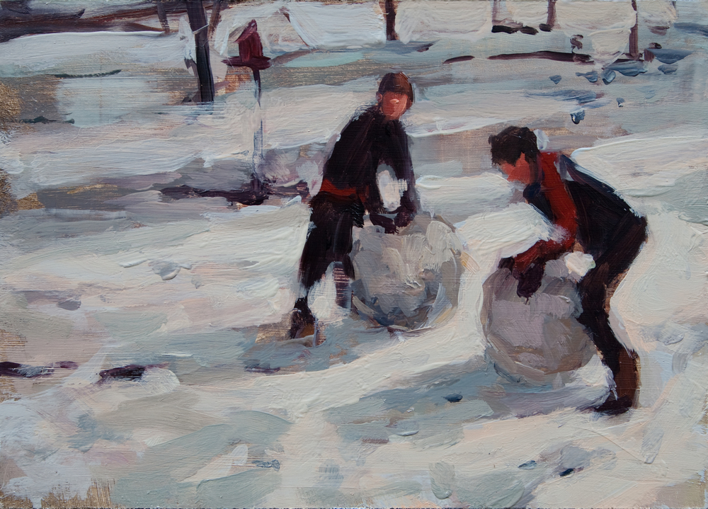 "Snow Day oil on panel, 5"" x 7"", 2012"