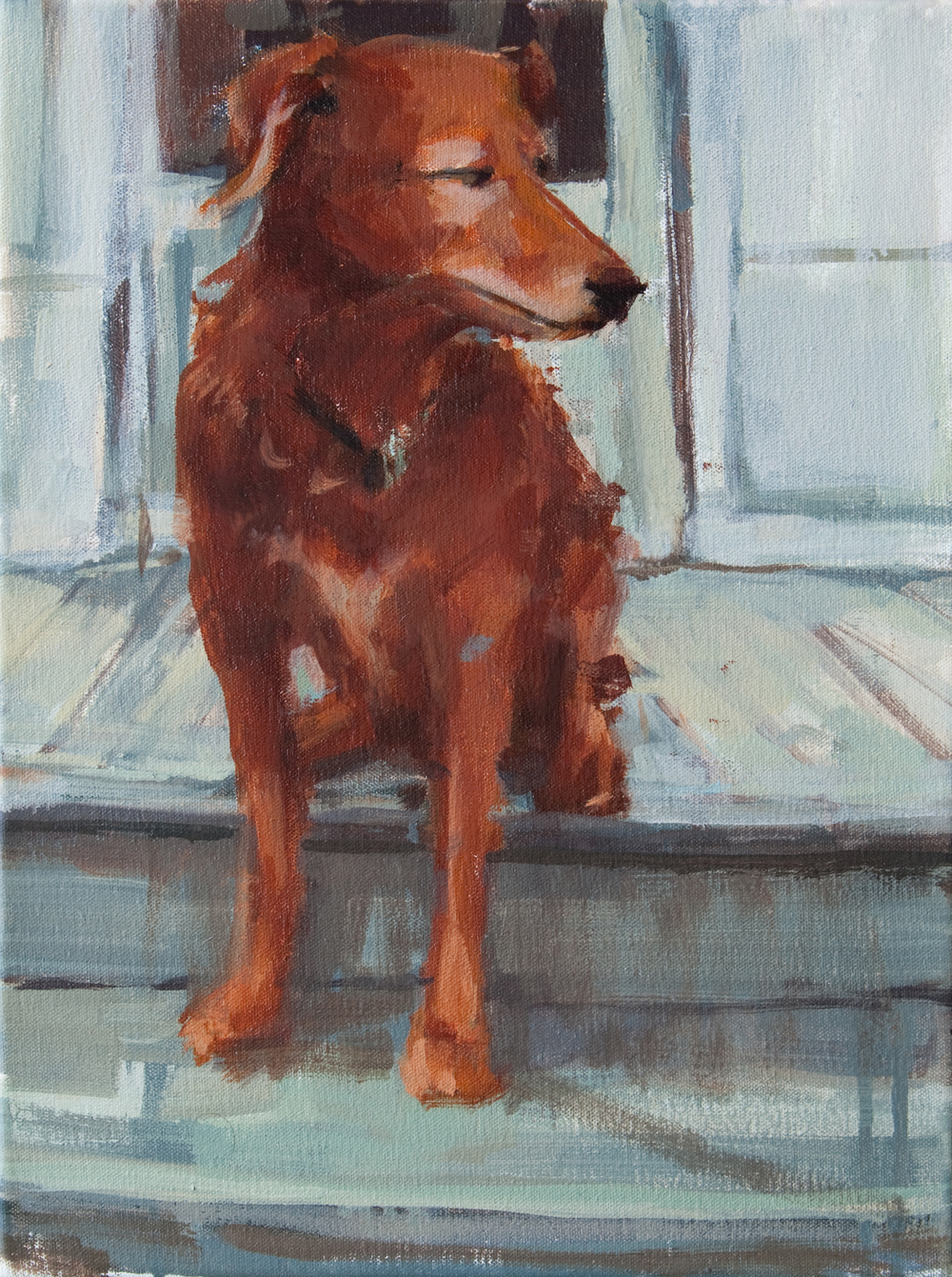 "Brown Dog, oil on canvas, 12"" x 9"", 2012"