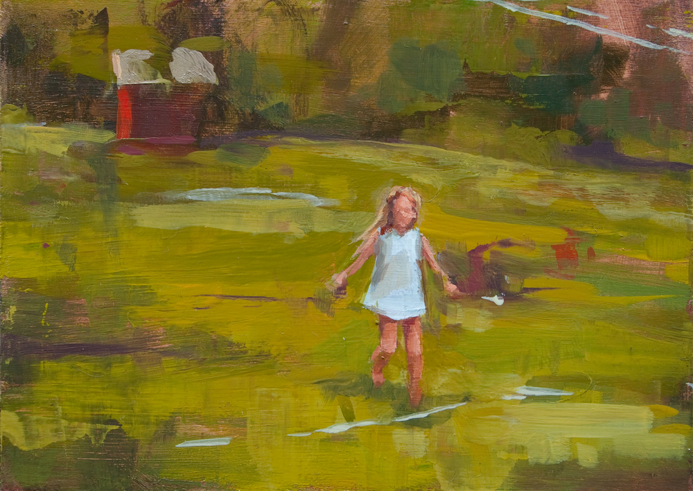 "Backyard Sprint, oil on panel, 5"" x 7"", 2012"