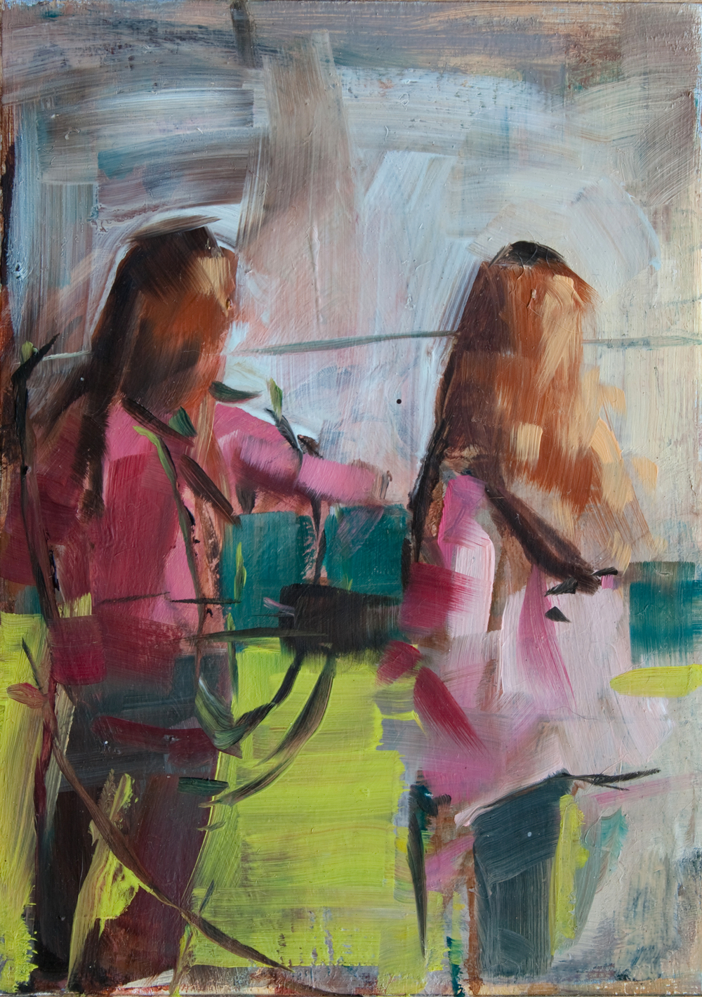"The Girls, oil on panel, 7"" x 5"", 2012, Private Collection"