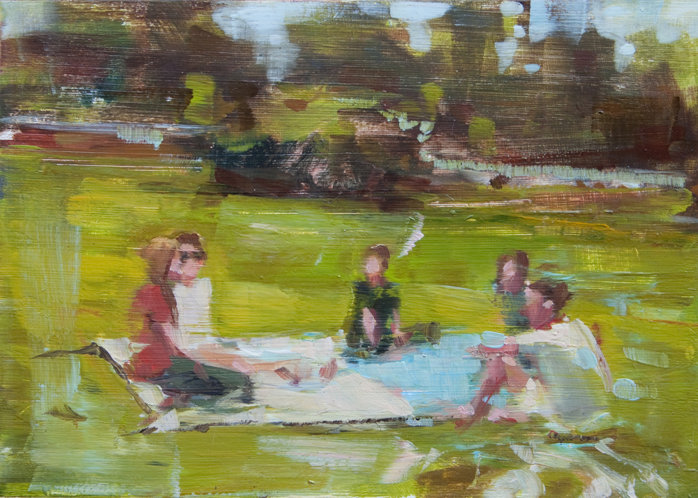 "At the Park, oil on panel, 5"" x 7"", 2011, Private Collection"