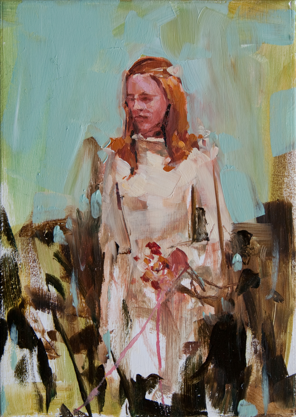 "Wedding Dress, oil on panel, 7"" x 5"", 2011"