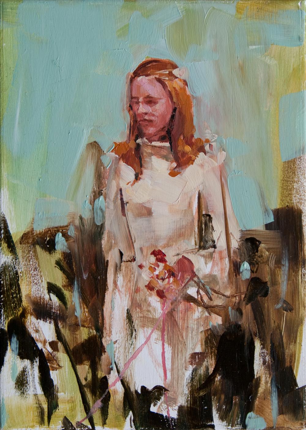 "Wedding Dress, oil on panel, 7"" x 5"", 2011"