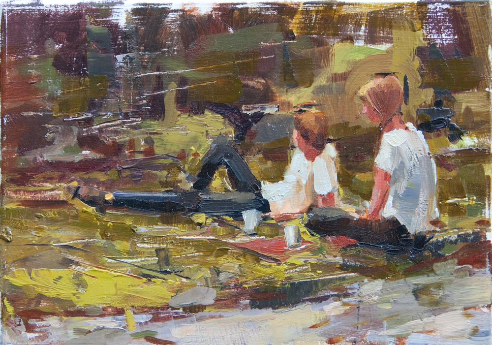 "Sitting Roadside, oil on panel, 5"" x 7"", 2011"