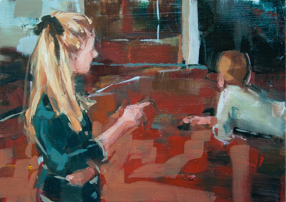 "Mom Pointing, oil on panel, 5"" x 7"", 2011"