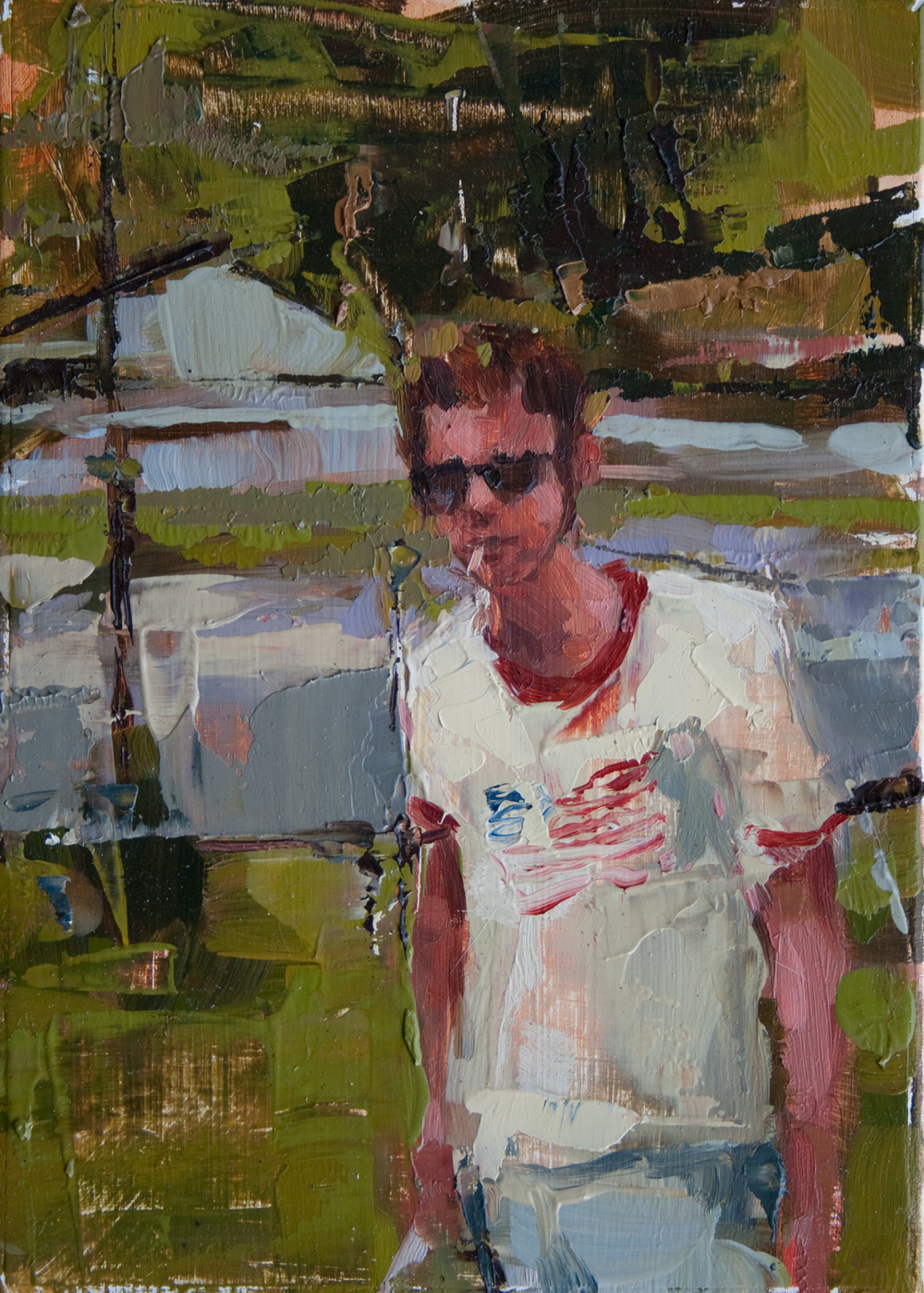 "Patriotism, oil on panel, 7"" x 5"", 2011, Private Collection"