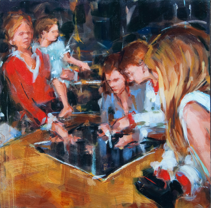 "Board Game, oil on panel, 12"" x 12"", 2011"