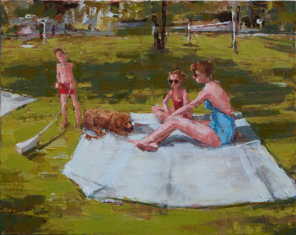 "Sunbathing in the Park, oil on canvas, 16"" x 20"", 2011-12"