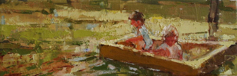 "Sandbox, oil on canvas, 4"" x 12"", 2011, Private Collection"