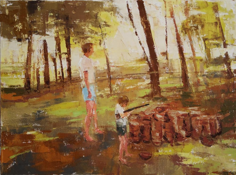 "Empty Lot Backyard, oil on canvas, 12"" x 16"", 2010"