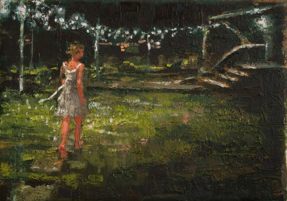 "Night Lights, oil on linen, 5"" x 7"", 2010, Private Collection"