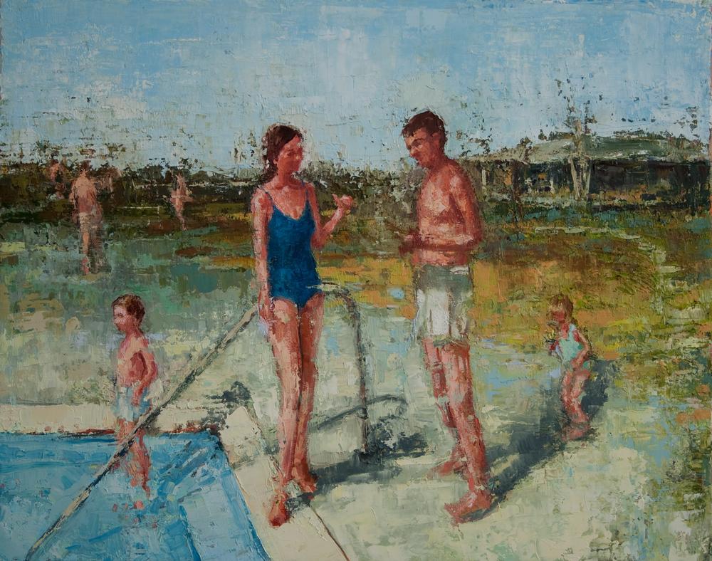"""Poolside, oil on linen, 16"""" x 20"""", 2010"""