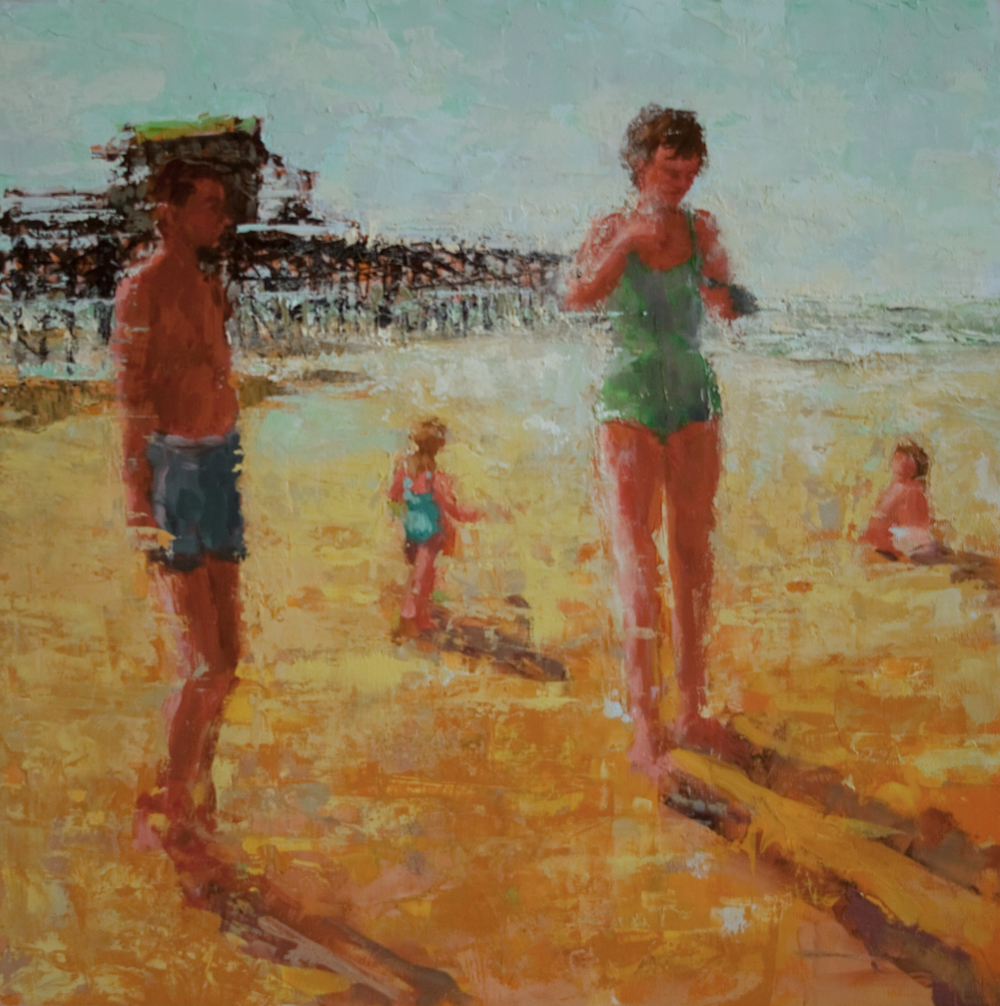 "Springmaid Pier, oil on panel, 12"" x 12"", 2010"