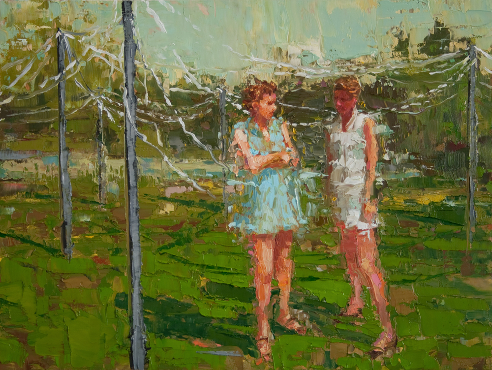 "Streamers in the Park, oil on panel, 9"" x 12"", 2010, Private Collection"