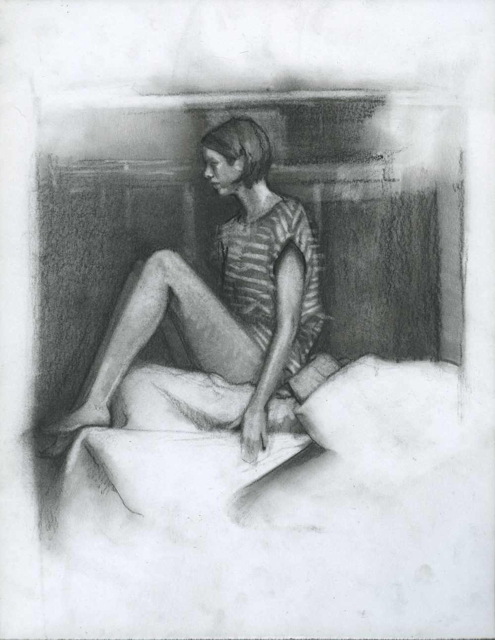 """Dramatic Convention, charcoal on paper, 11"""" x 8.5"""", 2014"""