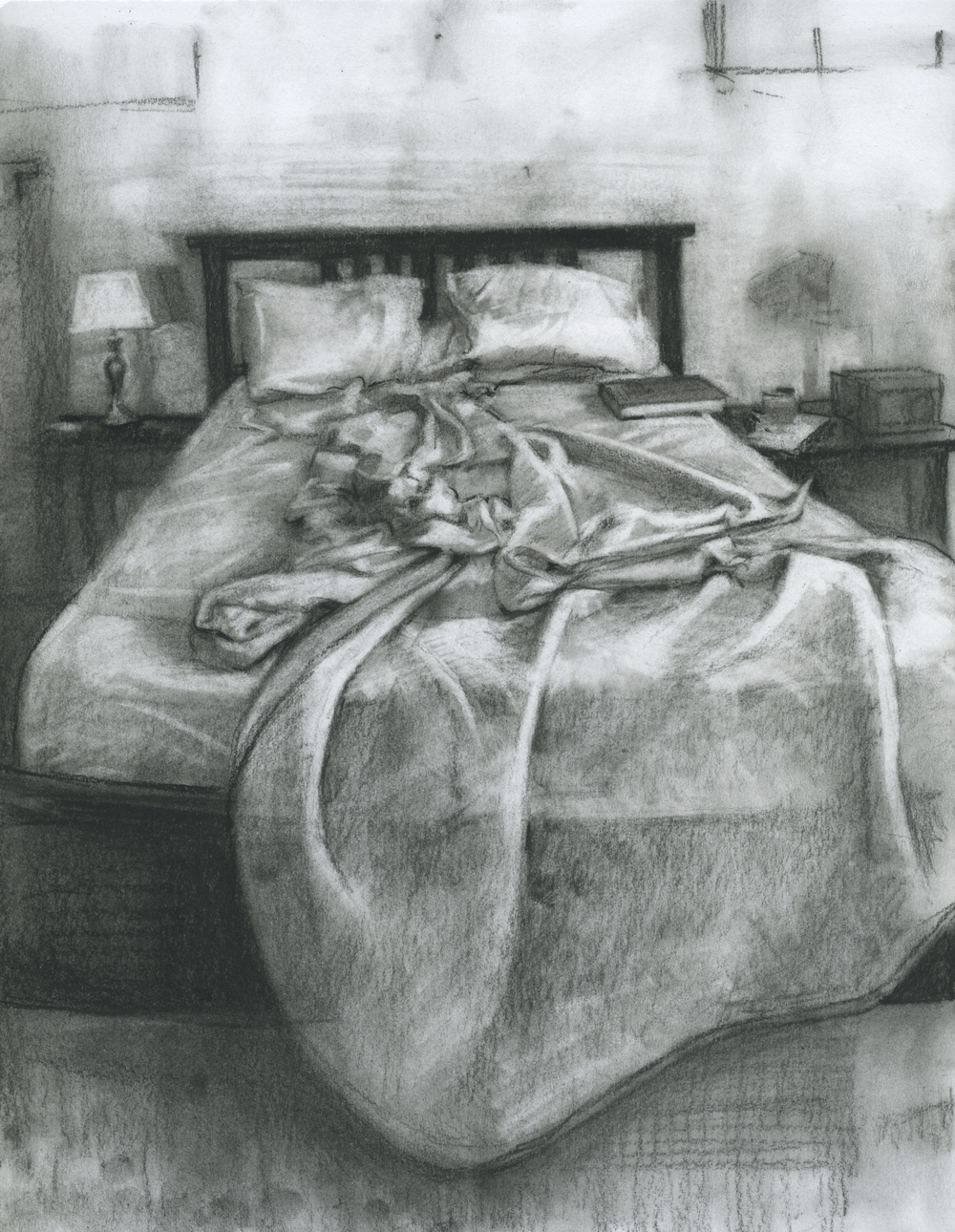"Long Daydreaming, charcoal on paper, 11"" x 8.5"", 2014"