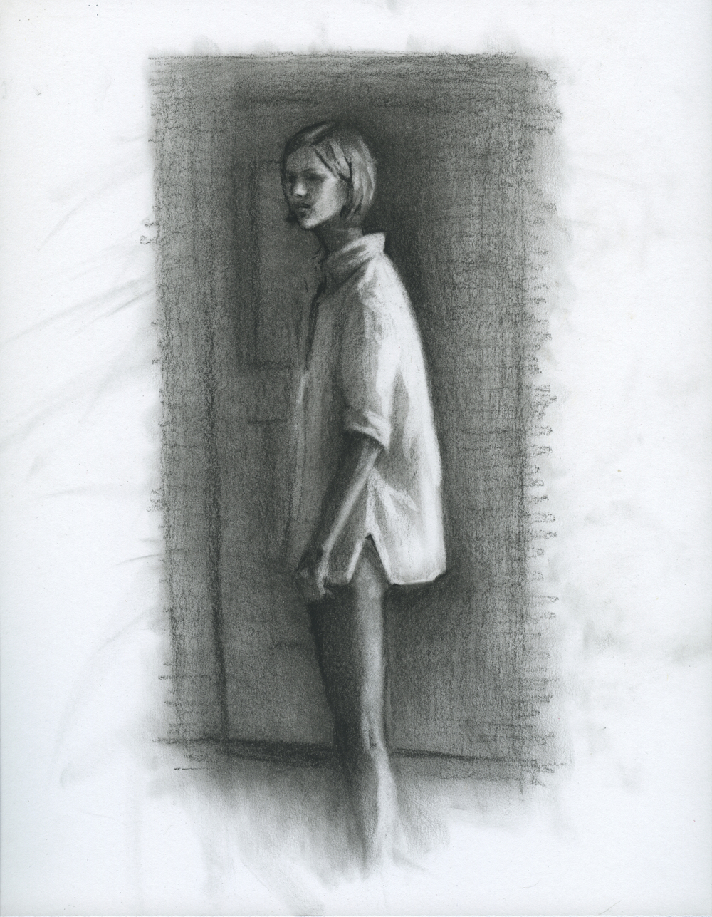 """The Mind Goes Clean, charcoal on paper, 11"""" x 8.5"""", 2014"""
