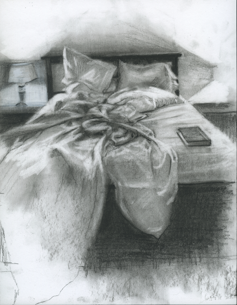 "Thrives In Solitude, charcoal on paper, 11"" x 8.5"", 2014"