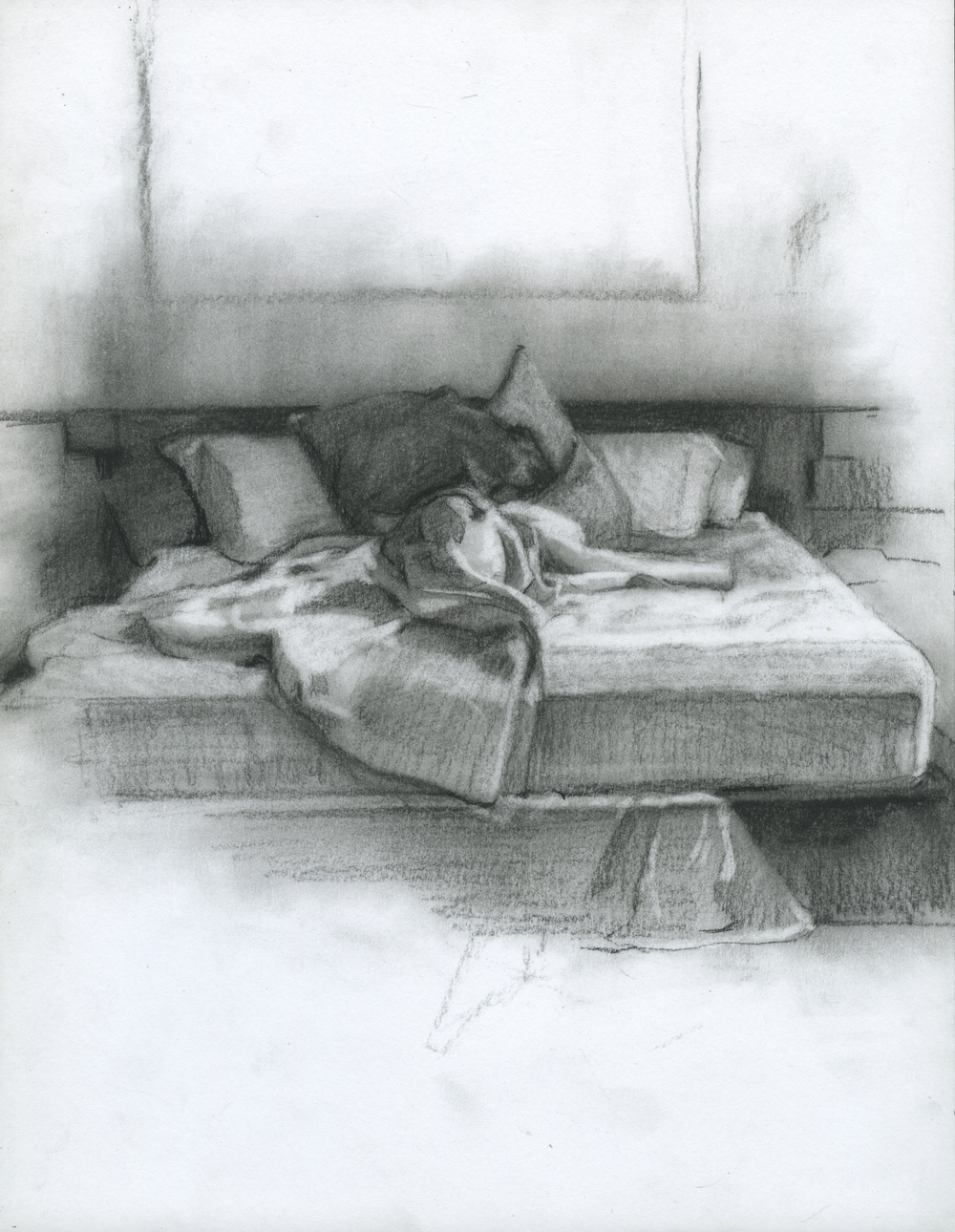 """Before We Started Dreaming, charcoal on paper, 11"""" x 8.5"""", 2014"""
