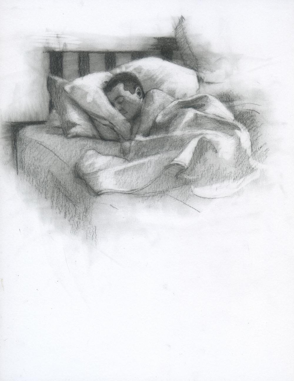 "Sleeping, charcoal on paper, 11"" x 8.5"", 2014"