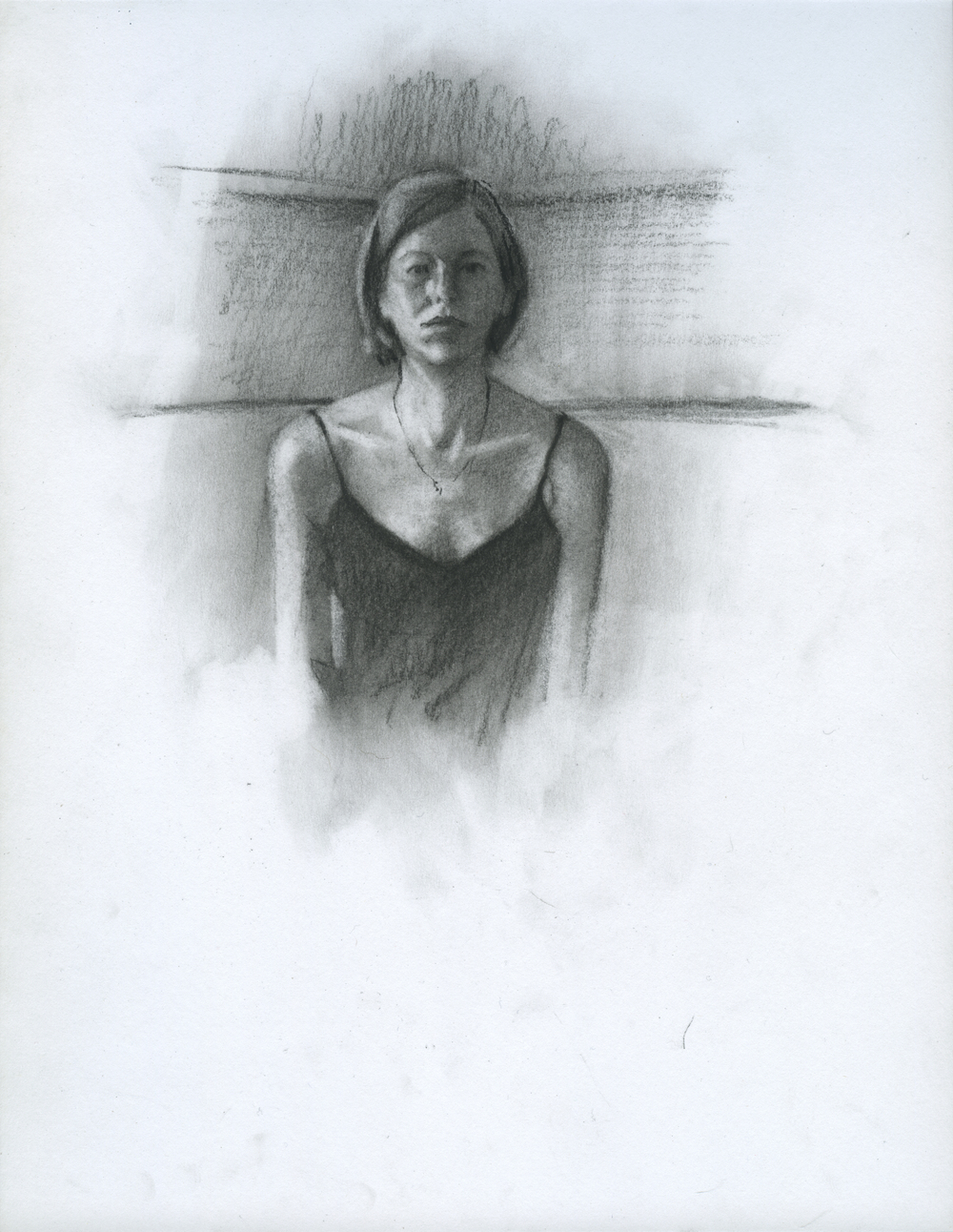"Words Are Chosen Carefully, charcoal on paper, 11"" x 8.5"", 2014"