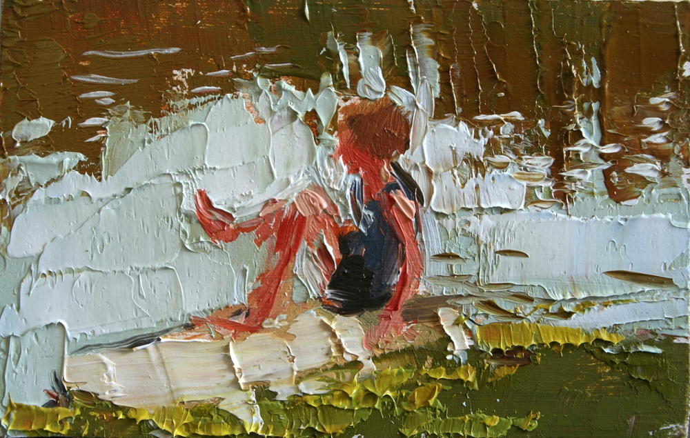 "TS 32, oil on panel, 2"" x 3.25"", 2011"