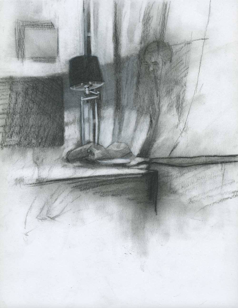 "On All Night, charcoal on paper, 11"" x 8.5"", 2014"